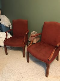 two brown wooden framed red padded armchairs Fayetteville, 28306