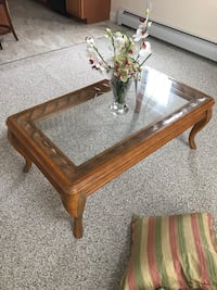 rectangular brown wooden framed glass top coffee table Rutland, 01543