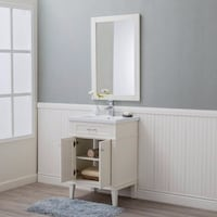 """24"""" Single Sink Transitional Bathroom Vanity Solid Wood Cabinet with Porcelain Top Fairfax"""