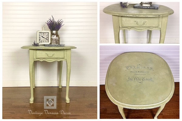 Shabby Chic Beige French Pastry Shop Accent Table with Storage Drawer