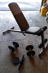 Adjustable Weight bench with 2 dumbbells and 4arm roll rope  $50