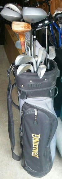 black and gray Spalding golf bag