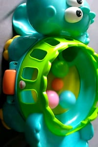 green and blue plastic toy