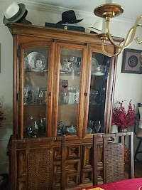 brown wooden framed clear glass china cabinet Accokeek, 20607
