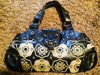 women's blue, black and white floral print leather handbag