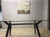 Crate and barrel glass kitchen table or desk with wood/metal  base