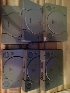 six Sony Playstation consoles