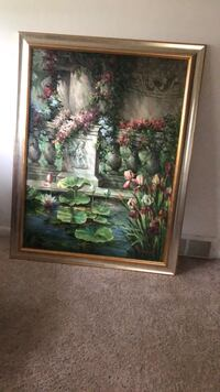 green and red flower painting with brown wooden frame Wauconda, 60084