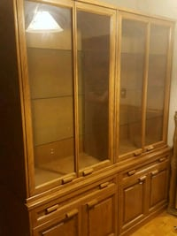 brown wooden framed glass display cabinet Toronto, M2M 3Y1