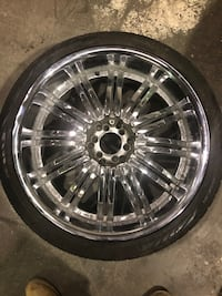 Chrome multi spokes auto wheel with tire  or trade for 5 lug Lusby, 20657