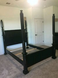 black wooden bed frame with white mattress Copperas Cove, 76522