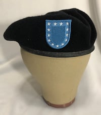 DSCP Garrison Collection US Army Black Wool Beret with Blue Patch Size 7 1/4 Clarksville