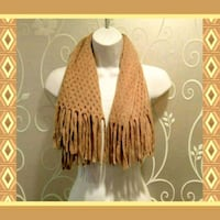 WOMENS TAN SCARF WITH FRINGE  Ontario, 91762