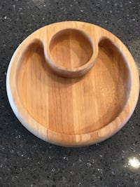 Crate & Barrel Chips and Dip Wooden Bowl 604 mi