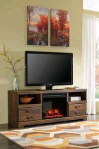 Quinden Dark Brown LG TV Stand with Fireplace    Houston, 77036
