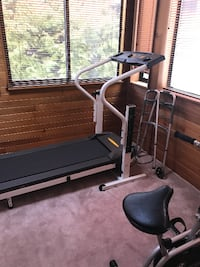 black and white electric treadmill