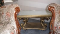 brown wooden framed glass top side table PALMDALE