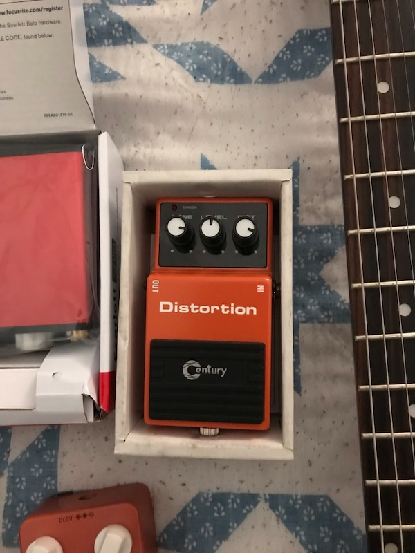 Acoustic and Electric guitar, 2 distortion pedals, focusrite scarlett solo  and tambourine for a good price  Note: Focusrite scarlett solo is super