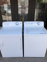 GE WASHER & ELECTRIC DRYER SET MATCHING 2017 MODELS OVERSIZE CAPACITY STAINLESS DRUM 6 MONTH WARRANTY BURLINGTON
