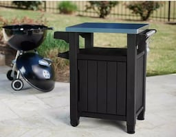 Keter Station Cart Patio Deck Box Storage Graphite 40 Gal. New in box