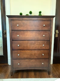 brown wooden 5-drawer tallboy dresser Washington, 20009