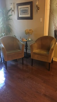 two brown wooden framed padded armchairs Vaughan, L4H 3E5