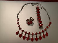 Necklace Bracelet Earring Set Red Grey Gray Silver REVERSIBLE. Arlington, 22201