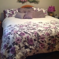 white,pink,and,green floral bedding set