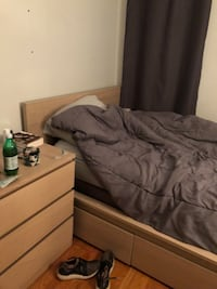 Two year old MALM ikea bed frame with two drawers underneath. Nearly new. Mattress can be included for additional 200 (originally 800 dollars purchased in 2014 and rarely used for the past two years) must be picked up!  Boston, 02116