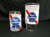 VINTAGE PABST BLUE RIBBON 32 oz Beer Glass & Pint Can Shape Glass Set Sioux Falls, 57106