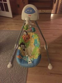 blue and white Fisher-Price cradle and swing Laval, H7P 1T9
