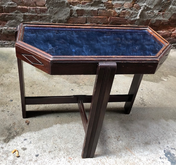 Antique Art Deco Blue Mirrored Wooden Side Table