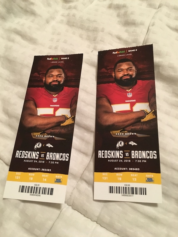 Redskins Tickets -Lower Level Seating