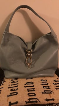 Women's gray leather tote bag Frederick, 21703
