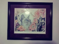 grey cat standing with red flowers painting with brown wooden frame Bakersfield, 93305