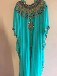 teal and silver floral long sleeve dress Edmonton, T5A 2N9