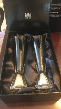 Champagne flutes with crystals at base. Brand new from Saks fifth Ave  Berwyn, 19312