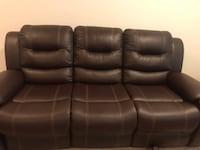 3 piece reclining leather set- Includes sofa, love seat and single recliner .