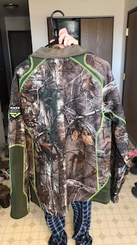 Green and brown real tree camouflage jacket