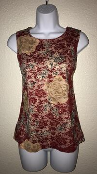 Medium women's  Red and multicolored floral crew-neck tank top