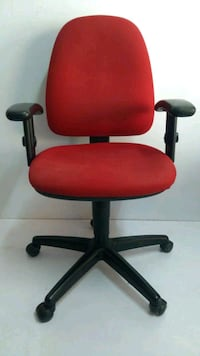 red and black rolling chair