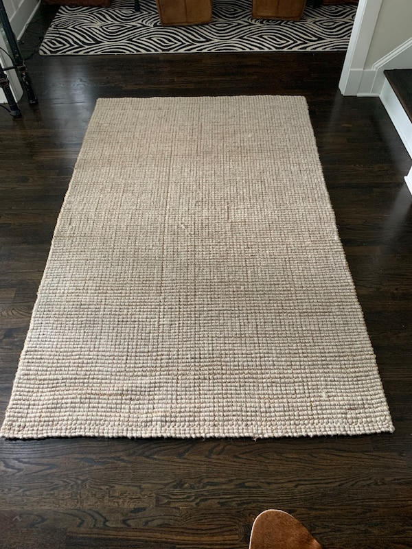 Used 5X8 Chunky Wool & Jute Rug-natural