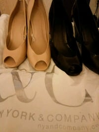 two pair of black and brown peep-toe pumps New Haven, 06511