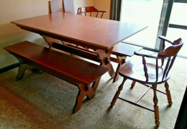 Vintage Dining Table, Benches & Chairs