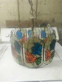 grey and multicolored glass mosaic floral lamp