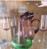 two clear glass candle holders Calgary, T2A 4P6
