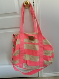 pink and brown striped two-way handbag Willow Beach, L0E 1S0