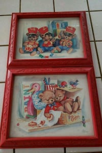 2 Vintage Red Framed Pictures by C. HANSEN  Bakersfield