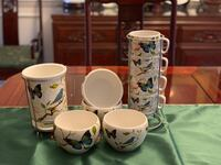 Cypress Home 12 pieces ceramic cups, bowls and spoons &folks stand Manassas, 20112