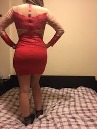 women's white and red long-sleeved minidress